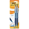 BIC Atlantis Ballpoint Pen - Medium Point Type - 1 mm Point Size - Point Point Style - Refillable - Blue - Blue Nickel Silver Barrel - 2 / Pack