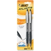 BIC Atlantis Ballpoint Pen - Medium Point Type - 1 mm Point Size - Point Point Style - Refillable - Black - Blue Nickel Silver Barrel - 2 / Pack