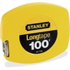 "Stanley 100' Long Tape Measure - 100 ft Length 0.4"" Width - 1/8 Graduations - Imperial Measuring System - Plastic, Polymer - 1 Each - Yellow"