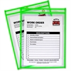 "C-Line Neon Colored Stitched Shop Ticket Holder - 9"" Width x 12"" Length Sheet Size - Green - 1 Each"""