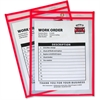 "C-Line Neon Colored Stitched Shop Ticket Holder - 9"" Width x 12"" Length Sheet Size - Red - 1 Each"""