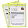 "C-Line Neon Colored Stitched Shop Ticket Holder - 9"" Width x 12"" Length Sheet Size - Yellow - 1 Each"""