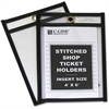 "C-Line Stitched Plastic Shop Ticket Holder - 4"" Width x 6"" Length Sheet Size - Clear - 25 / Box"""