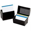 "Oxford Plastic Index Card Box With Lid - External Dimensions: 8"" Width x 5"" Height - 400 x Card - Flip Top Closure - Plastic - Black - For Card - 1 Each"