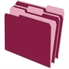 "Pendaflex Two-Tone Color File Folder - Letter - 8 1/2"" x 11"" Sheet Size - 1/3 Tab Cut - Assorted Position Tab Location - 11 pt. Folder Thickness - Burgundy - 100 / Box"