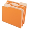 "Pendaflex Two-Tone Color File Folder - Letter - 8 1/2"" x 11"" Sheet Size - 1/3 Tab Cut - Assorted Position Tab Location - 11 pt. Folder Thickness - Orange - 100 / Box"