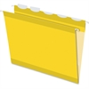 "Pendaflex Ready-Tab Reinforced Hanging Folder with Lift Tab - Letter - 8 1/2"" x 11"" Sheet Size - 1/5 Tab Cut - Yellow - 25 / Box"