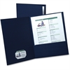 "Oxford Oxford Linen Twin Pocket Portfolio - Letter - 8 1/2"" x 11"" Sheet Size - 2 Internal Pocket(s) - Linen - Navy Blue - 5 / Pack"
