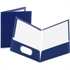 "Oxford Laminated Twin Pocket Folders - Letter - 8 1/2"" x 11"" Sheet Size - 100 Sheet Capacity - 2 Pocket(s) - Paperboard - Dark Blue - 25 / Box"