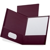 "Oxford Linen Twin Pocket Folders - Letter - 8 1/2"" x 11"" Sheet Size - 100 Sheet Capacity - 2 Pocket(s) - Burgundy - 25 / Box"