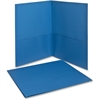 "Twin Pocket Folders - Letter - 8 1/2"" x 11"" Sheet Size - 100 Sheet Capacity - 2 Internal Pocket(s) - Leatherette Paper - Light Blue - 25 / Box"
