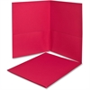 "Twin Pocket Folders - Letter - 8 1/2"" x 11"" Sheet Size - 100 Sheet Capacity - 2 Internal Pocket(s) - Leatherette Paper - Red - Recycled - 25 / Box"