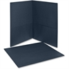 "Twin Pocket Folder - Letter - 8 1/2"" x 11"" Sheet Size - 100 Sheet Capacity - 2 Internal Pocket(s) - Leatherette Paper - Dark Blue - 25 / Box"