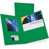 "Oxford Twin Pocket Folders - Letter - 8 1/2"" x 11"" Sheet Size - 2 Internal Pocket(s) - Leatherette Paper - Hunter Green - 25 / Box"
