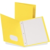 "Oxford Twin-Pocket Folders with Fasteners - Letter - 8 1/2"" x 11"" Sheet Size - 3 Fastener(s) - 1/2"" Fastener Capacity for Folder - 2 Inside Front & Back Pocket(s) - Leatherette Paper - Yellow - 25 / B"