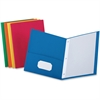 "Oxford Twin-Pocket Folders with Fasteners - Letter - 8 1/2"" x 11"" Sheet Size - 3 Fastener(s) - 1/2"" Fastener Capacity for Folder - 2 Inside Front & Back Pocket(s) - Leatherette Paper - Blue, Green, Ye"