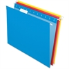 "Pendaflex Essentials Color Hanging Folders - Letter - 8 1/2"" x 11"" Sheet Size - 1/5 Tab Cut - Yellow, Red, Blue - 25 / Box"