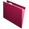 "Pendaflex Essentials Color Hanging Folders - Letter - 8 1/2"" x 11"" Sheet Size - 1/5 Tab Cut - Burgundy - 25 / Box"