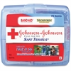 "Johnson&Johnson Safe Travels First Aid Kit - 70 x Piece(s) - 5.5"" Height x 6.3"" Width x 1.6"" Depth - Plastic Case - 1 Each"