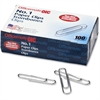 OIC No. 1 Size Paper Clips - Standard - 1000 / Pack - Silver - Steel