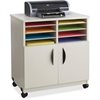 """Safco 1851GR Printer Stand - 200 lb Load Capacity - 6 x Shelf(ves) - Hinged Door - 30.5"""" Height x 28.1"""" Width x 19.8"""" Depth - Floor - Laminate - Wood, Particleboard - Gray"""