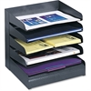Safco Letter-Size Desk Tray Sorter - 5 Tier(s) - Desktop - Black - Steel - 1Each
