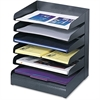 Safco Letter-Size Desk Tray Sorter - 6 Tier(s) - Desktop - Black - Steel - 1Each