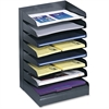 Safco Letter-Size Desk Tray Sorter - 8 Tier(s) - Desktop - Black - Steel - 1Each
