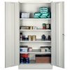 "Tennsco Full-Height Standard Storage Cabinet - 36"" x 18"" x 72"" - 2 x Door(s) - Security Lock, Welded, Reinforced, Hinged Door - Light Gray - Chrome - Recycled"