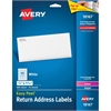 "Avery White Easy Peel Address Labels - 0.50"" Width x 1.75"" Length - Laser, Inkjet - White - 80 / Pack"