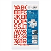 "Chartpak Vinyl Helvetica Style Letters/Numbers - 12 Numbers, 76 Capital Letters - Self-adhesive - Easy to Use - 1"" Height - Red - Vinyl - 1 / Pack"