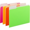 "Neon Colored Folder - Letter - 8 1/2"" x 11"" Sheet Size - 3/4"" Expansion - 1/3 Tab Cut - 11 pt. Folder Thickness - Neon - Recycled - 12 / Pack"