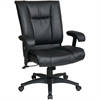 "Office Star EX9381 Deluxe Leather Mid-Back Chair - Leather Black Seat - Black Frame - 5-star Base - Black - Leather - 22.75"" Seat Width x 20.75"" Seat Depth - 28"" Width x 28.8"" Depth x 42.5"" Height"