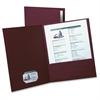 "Oxford Textured Twin Pocket Folders - Letter - 8 1/2"" x 11"" Sheet Size - 2 Inside Front Pocket(s) - Linen - Burgundy - 5 / Pack"