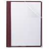 """TOPS Linen Finish Clear Front Report Covers - Letter - 8 1/2"""" x 11"""" Sheet Size - 85 Sheet Capacity - 3 x Double Tang Fastener(s) - 1/2"""" Fastener Capacity for Folder - Linen - Burgundy - 25 / Box"""