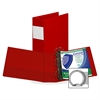 "Samsill 143 Label Holder Ring Binder - 4"" Binder Capacity - Letter - 8 1/2"" x 11"" Sheet Size - Round Ring Fastener - 2 Internal Pocket(s) - Chipboard - Red - Recycled - 1 / Each"
