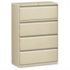 "Lorell Lateral File - 36"" x 18.6"" x 52.5"" - 4 x Drawer(s) for File - Legal, Letter, A4 - Lateral - Rust Proof, Leveling Glide, Interlocking, Ball-bearing Suspension, Label Holder - Putty - Baked Ename"