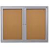 "2-Door Enclosed Indoor Bulletin Board - 48"" Height x 36"" Width - Cork Surface - 1 Each"