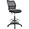 "Air Grid Mesh Back Drafting Chair - Mesh Seat - Mesh Back - 5-star Base - Black - 20"" Seat Width x 19.75"" Seat Depth - 21.3"" Width x 25.5"" Depth x 51"" Height"