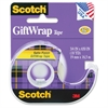 "Scotch Satin Finish GiftWrap Tape - 0.75"" Width x 54.17 ft Length - 1"" Core - Dispenser Included - Handheld Dispenser - 1 Roll - Clear"
