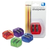 "OIC Dual-purpose Pencil & Crayon Sharpener - 2 Hole(s) - 1.3"" Height x 1.3"" Width x 0.6"" Depth - Plastic - Assorted"