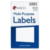 "MACO White Multi-Purpose Labels - Removable Adhesive - 0.38"" Width x 1.25"" Length - Rectangle - White - 1000 / Pack"