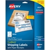 "Avery Shipping Label with Paper Receipt - Permanent Adhesive - 5.06"" Width x 7.63"" Length - Rectangle - Inkjet - White - 25 / Pack"