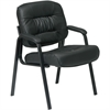 "Office Star Visitors Chair - Leather Black Seat - Four-legged Base - 20.50"" Seat Width x 19"" Seat Depth - 25.3"" Width x 27.5"" Depth x 34.8"" Height"