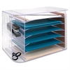 "Sparco 6-tray Jumbo Desk Sorter - 3 Pocket(s) - 12.3"" Height x 18.1"" Width x 10"" Depth - Desktop, Wall Mountable - Clear - 1Each"