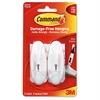 Command Wire Hooks, Medium, White, 3lb Capacity, 2 Pack - 2 Medium Hook - 3 lb (1.36 kg) Capacity - Plastic - White - 2 / Pack