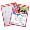"Reusable Dry Erase Pocket - Letter - 8.50"" Width x 11"" Length Sheet Size - Red - 30 / Box"""