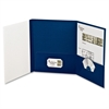 "Tri-fold Custom Folio Cover - Letter - 8.50"" x 11"" Sheet Size - 100 Sheet Capacity - Navy - 4 / Pack"