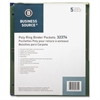 "Business Source Poly Binder Pockets - 40 x Sheet Capacity - For Letter 8.50"" x 11"" Sheet - 3 x Holes - Rectangular - Assorted - Polypropylene - 5 / Pack"
