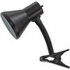 Advantus Ledu Clip-on Gooseneck Lamp - 60 W Fluorescent, Incandescent Bulb - Metal - Black